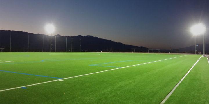 照明(投光器)納入事例 山形県中央市 農村公園 多目的サッカーグラウンド